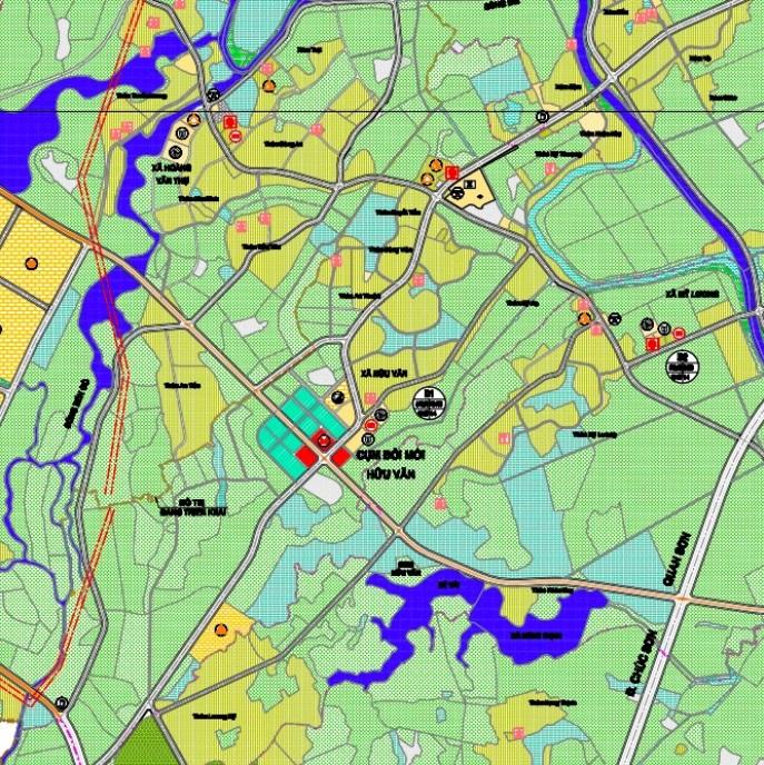 Bản đồ quy hoạch giao thông xã Hữu Văn theo bản đồ quy hoạch chung xây dựng huyện Chương Mỹ thành phố Hà Nội đến năm 2030.