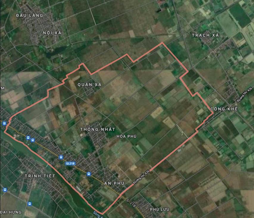 Xã Hoà Phú trên bản đồ Google vệ tinh.