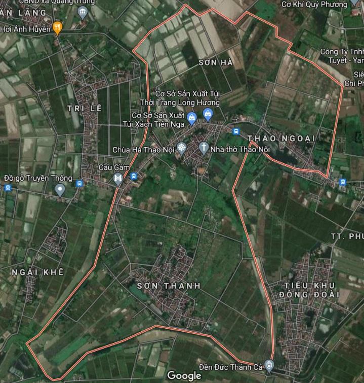 Xã Sơn Hà trên bản đồ Google vệ tinh.