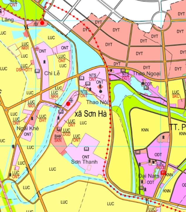 Bản đồ quy hoạch sử dụng đất xã Sơn Hà (Nguồn: Ứng dụng công khai thông tin đất đai Thành phố Hà Nội).