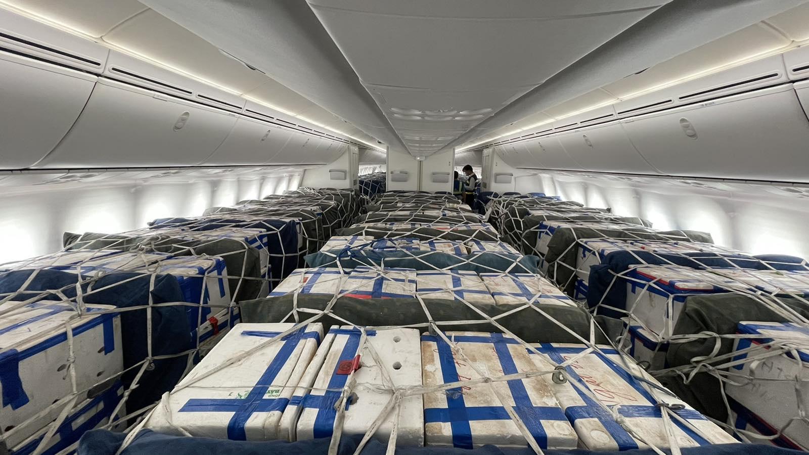 Lần đầu tiên Vietnam Airlines bố trí riêng một siêu máy bay chỉ để chở vải thiều ẢNH: VNA