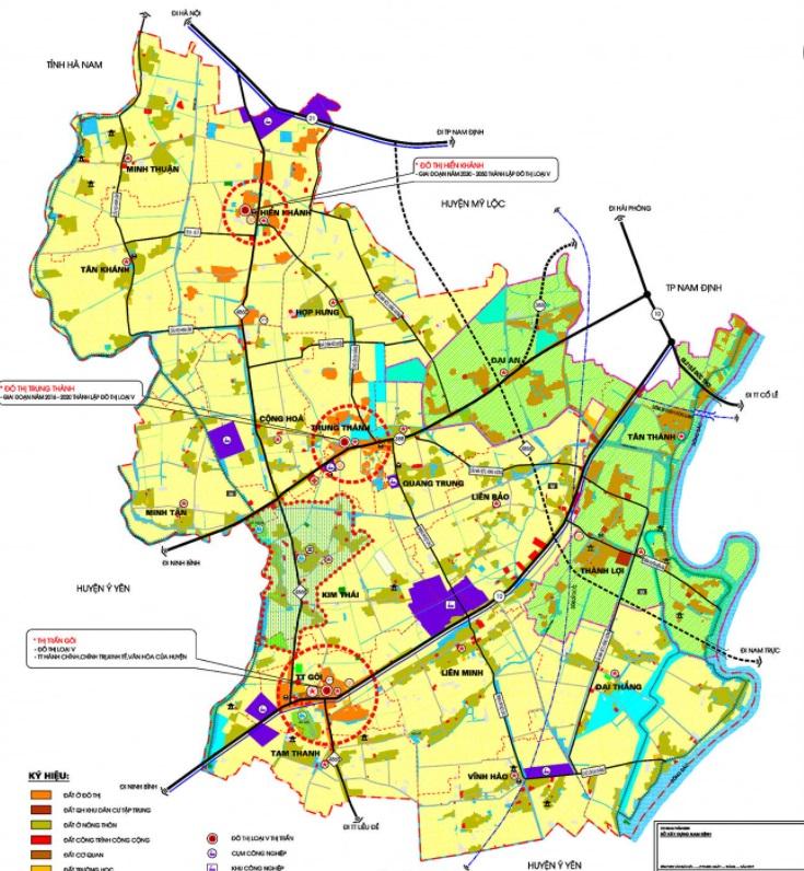 Bản đồ định hướng phát triển huyện Vụ Bản