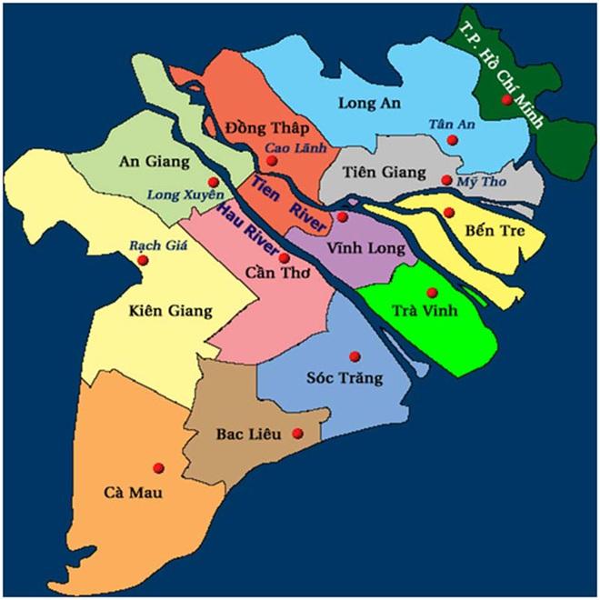 Bản đồ các tỉnh Đồng bằng sông Cửu Long.