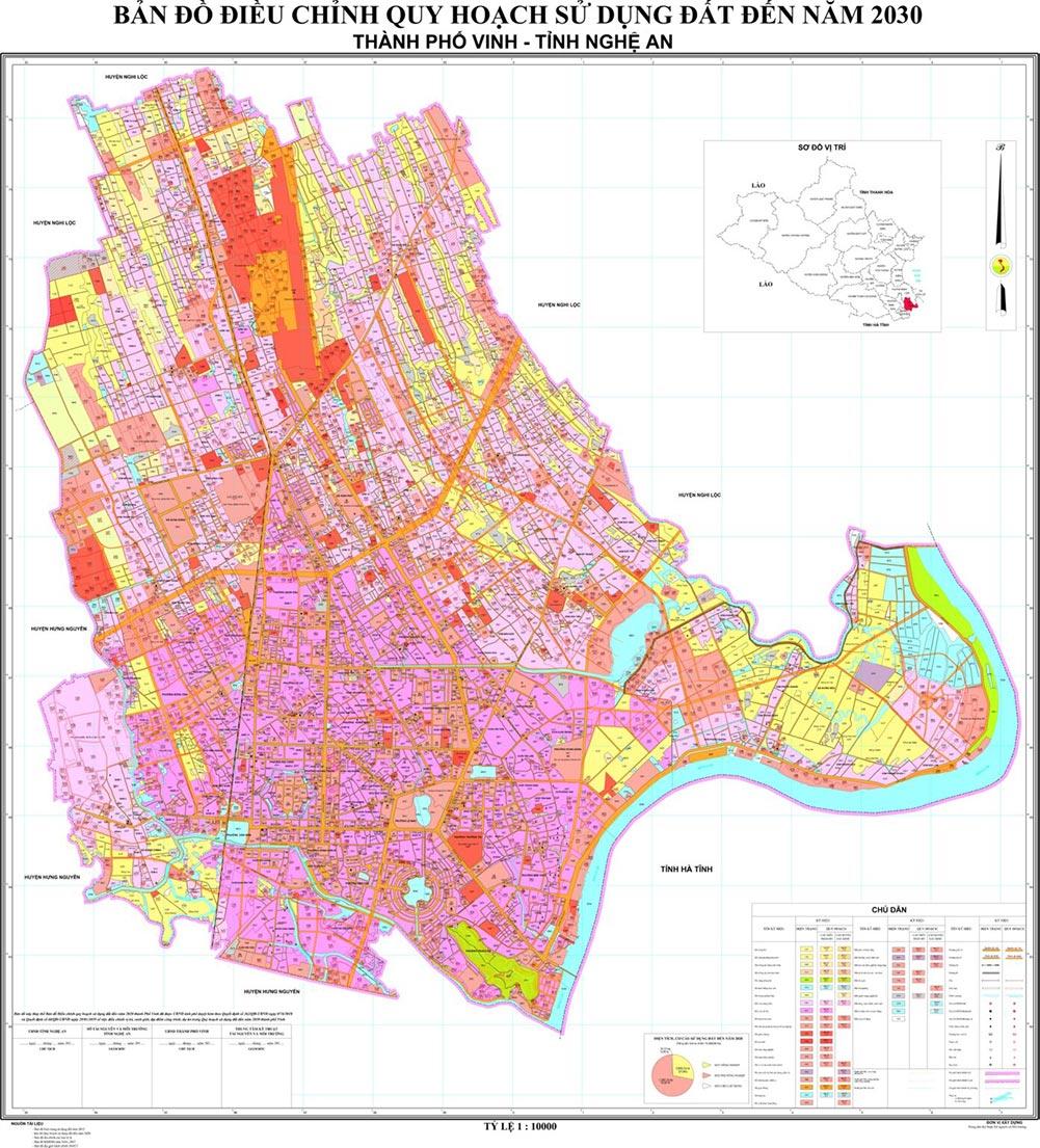 Bản đồ quy hoạch sử dụng đất tại TP Vinh tỉnh Nghệ An