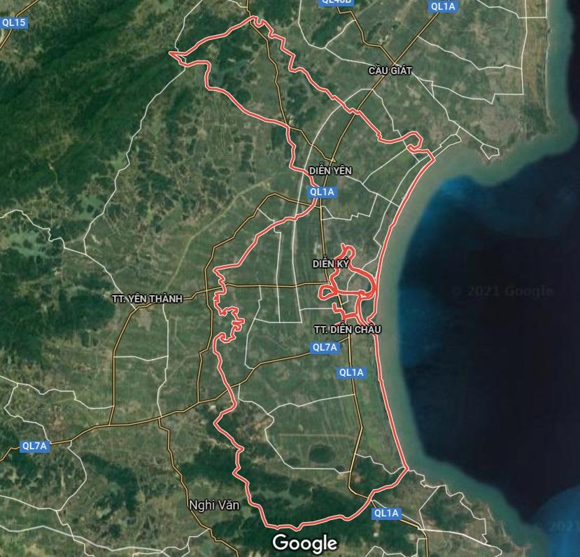 Huyện Diễn Châu trên google vệ tinh