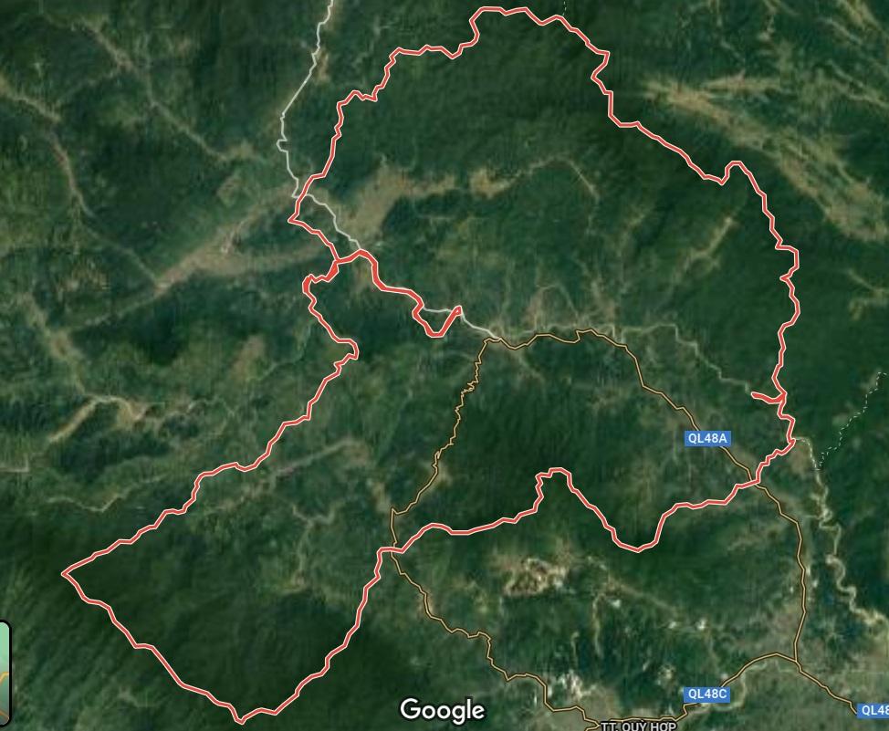 Huyện Quỳ Châu trên google vệ tinh
