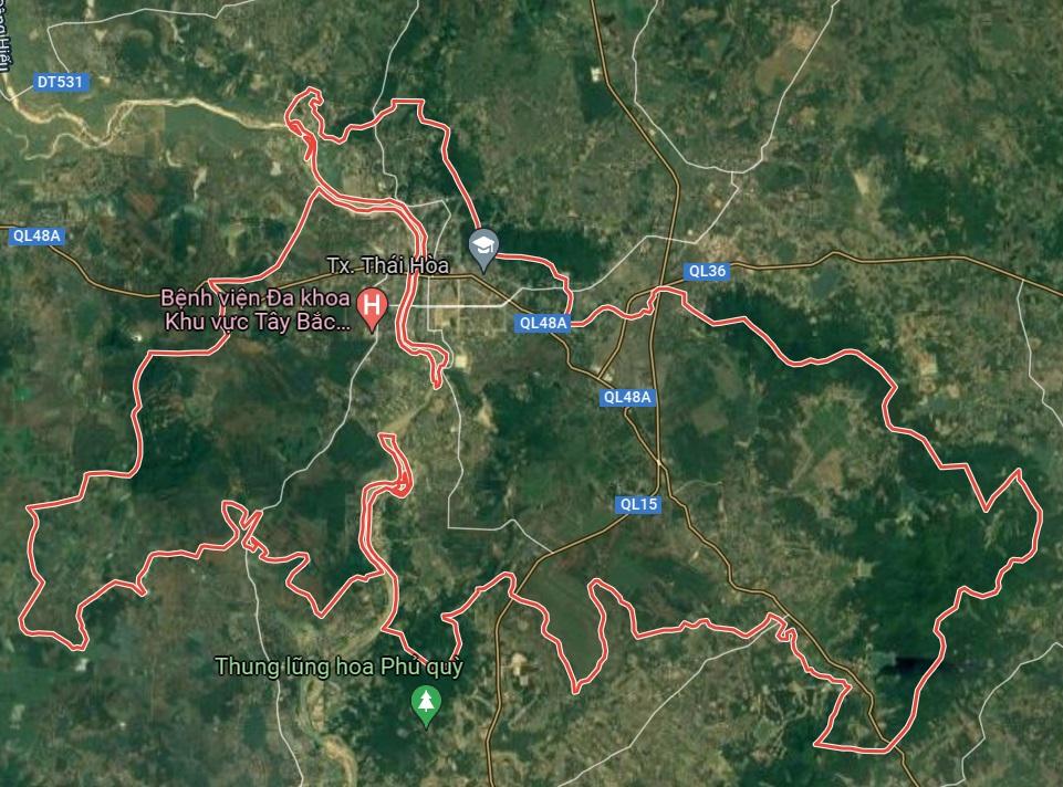 Thị xã Thái Hòa trên google vệ tinh