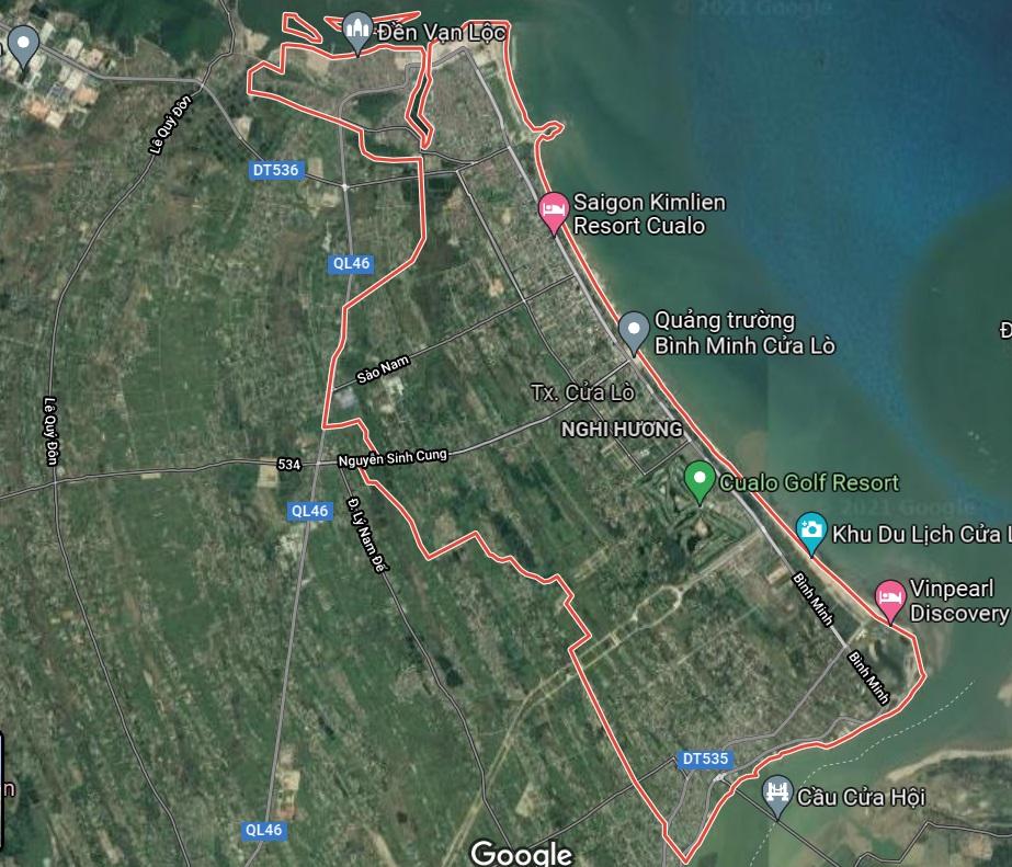 Thị xã Cửa lò trên google vệ tinh