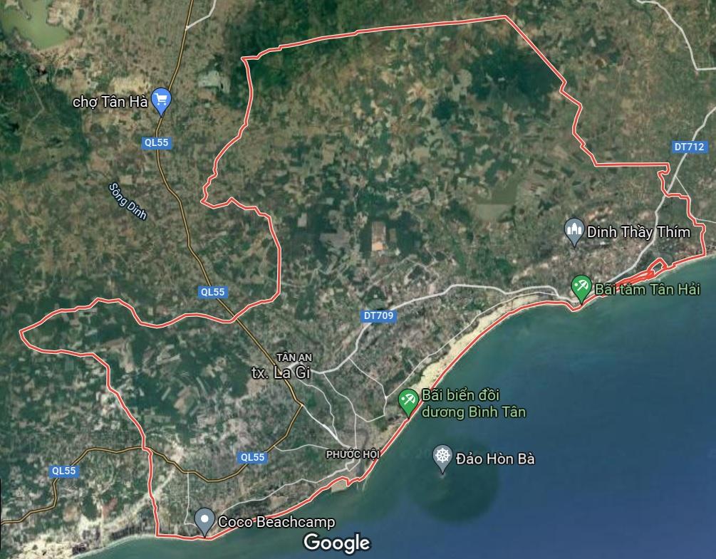 Thị xã La Gi trên google vệ tinh