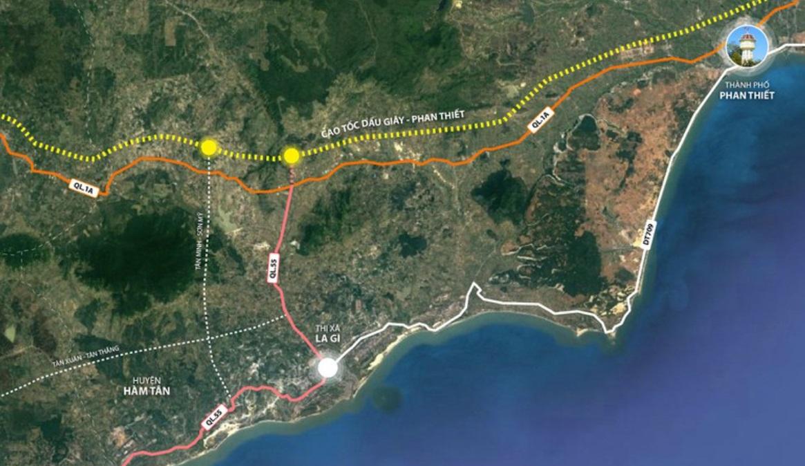 Bình Thuận đang triển khai hai trục đường kết nối từ cao tốc đến Hàm Tân - La Gi, trong đó sẽ nâng cấp, mở rộng quốc lộ 55.