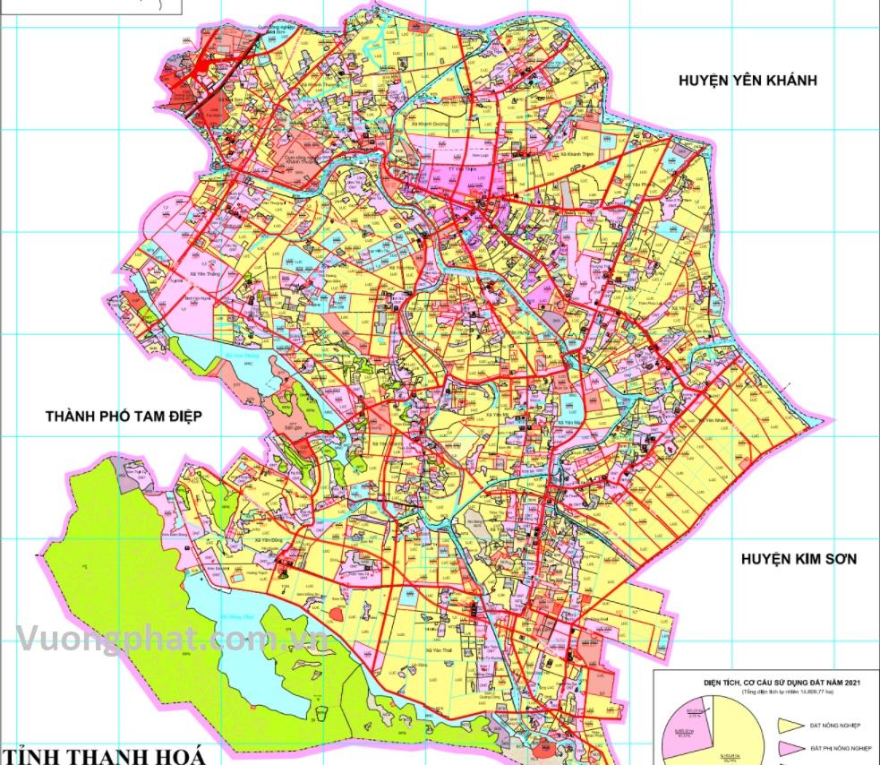 Bản đồ quy hoạch sử dụng đất huyện Yên Mô đến 2030