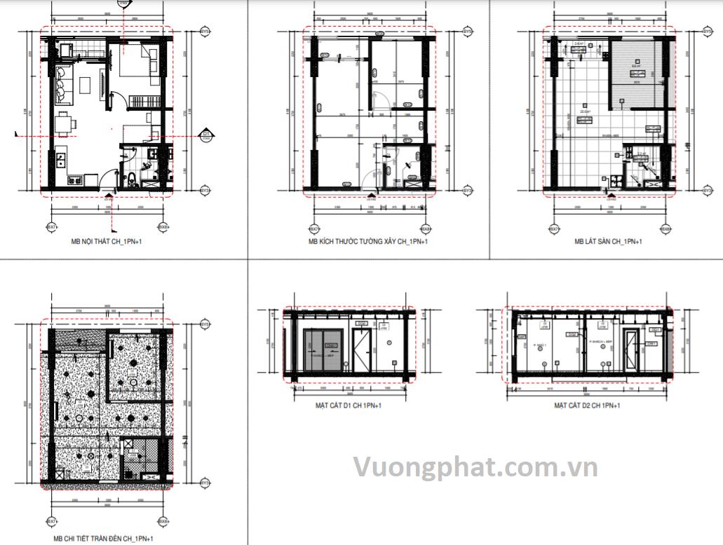 Thiết kế căn 1 phòng ngủ tại chung cư Thuận Giao