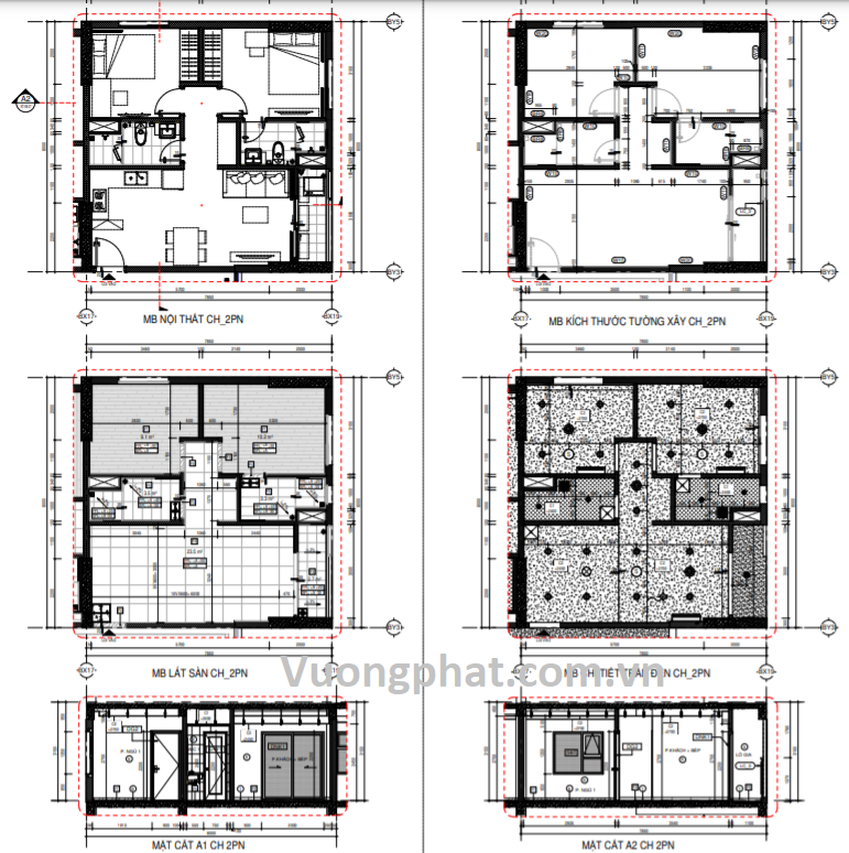 Bản vẽ thiết kế căn 2 phòng ngủ tại chung cư Thuận Giao