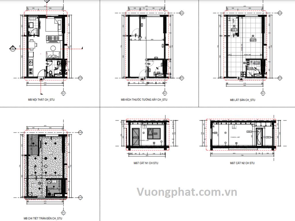 Bản vẽ thiết kế căn Studio tại chung cư Thuận Giao