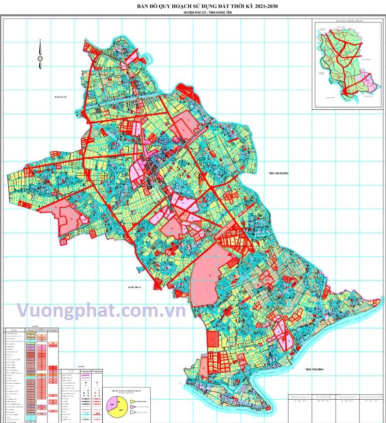 Bản đồ quy hoạch sử dụng đất huyện Phù Cừ đến 2030