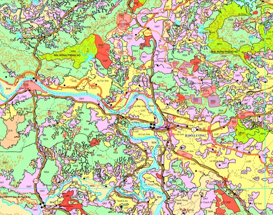 Bản đồ quy hoạch sử dụng đất huyện Đô Lương theo bản đồ điều chỉnh quy hoạch sử dụng đất đến năm 2020, tỉnh Nghệ An.