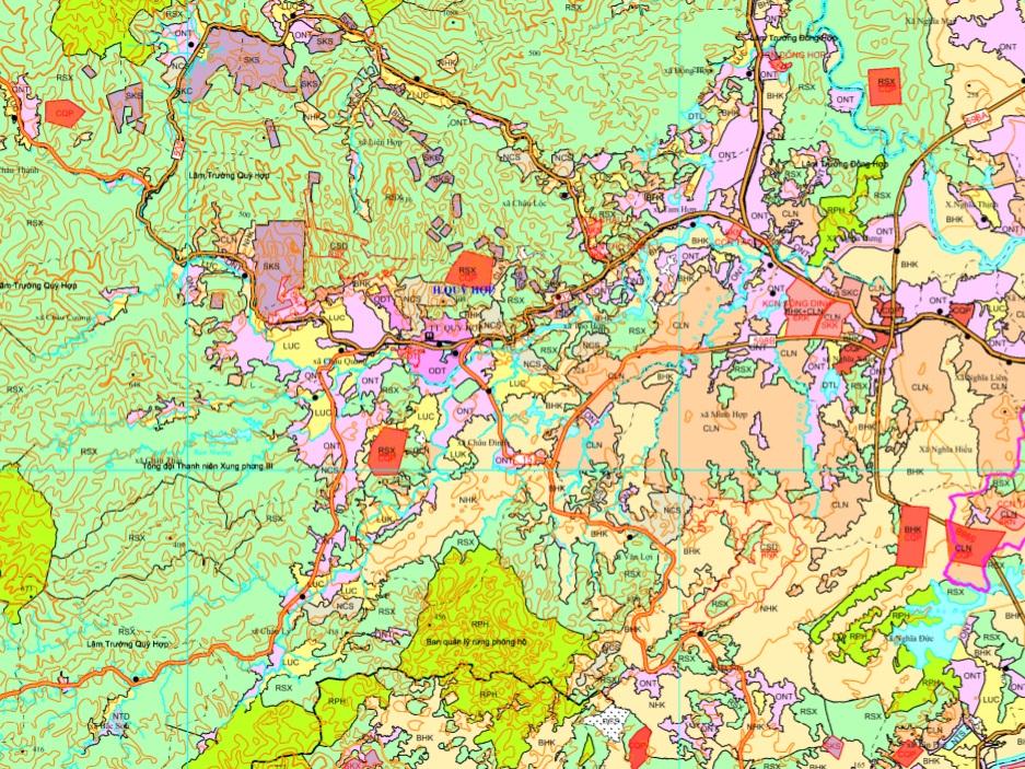 Bản đồ quy hoạch giao thông huyên Quỳ Hợp được xác định theo Bản đồ quy hoạch sử dụng đất đến 2020 tỉnh Nghệ An
