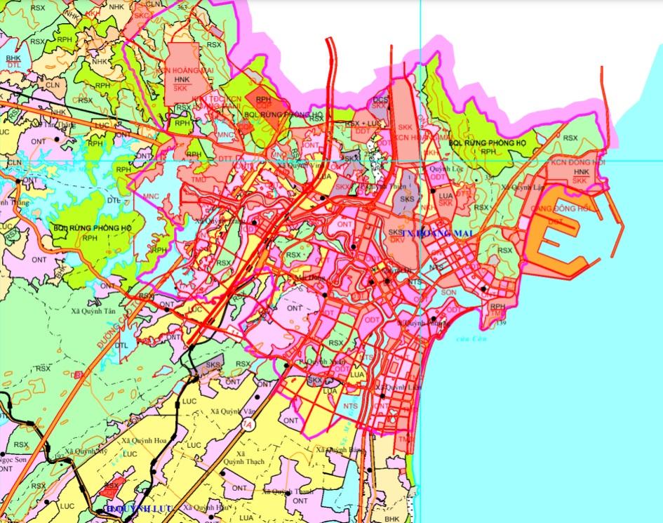 Bản đồ quy hoạch giao thông Thị xã Hoàng Mai được xác định theo Bản đồ quy hoạch sử dụng đất đến 2020 tỉnh Nghệ An
