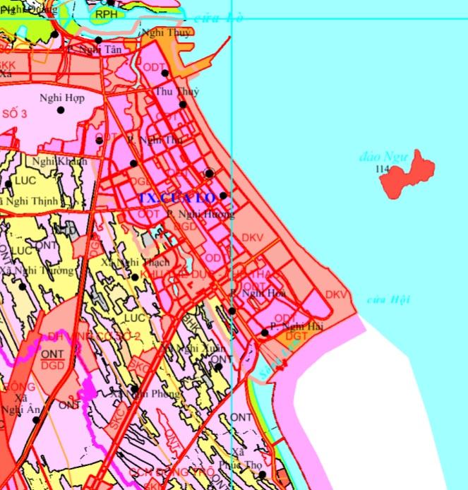 Bản đồ quy hoạch giao thông Thị xã Cửa Lò được xác định theo Bản đồ quy hoạch sử dụng đất đến 2020 tỉnh Nghệ An