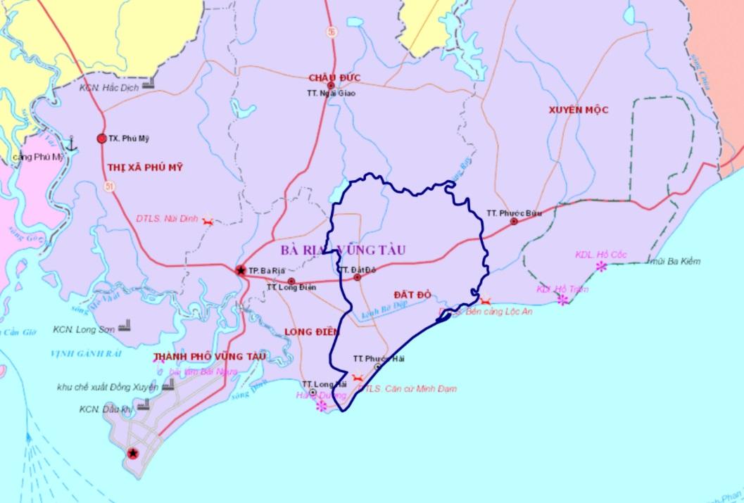 Vị trí huyện Đất Đỏ trên bản đồ