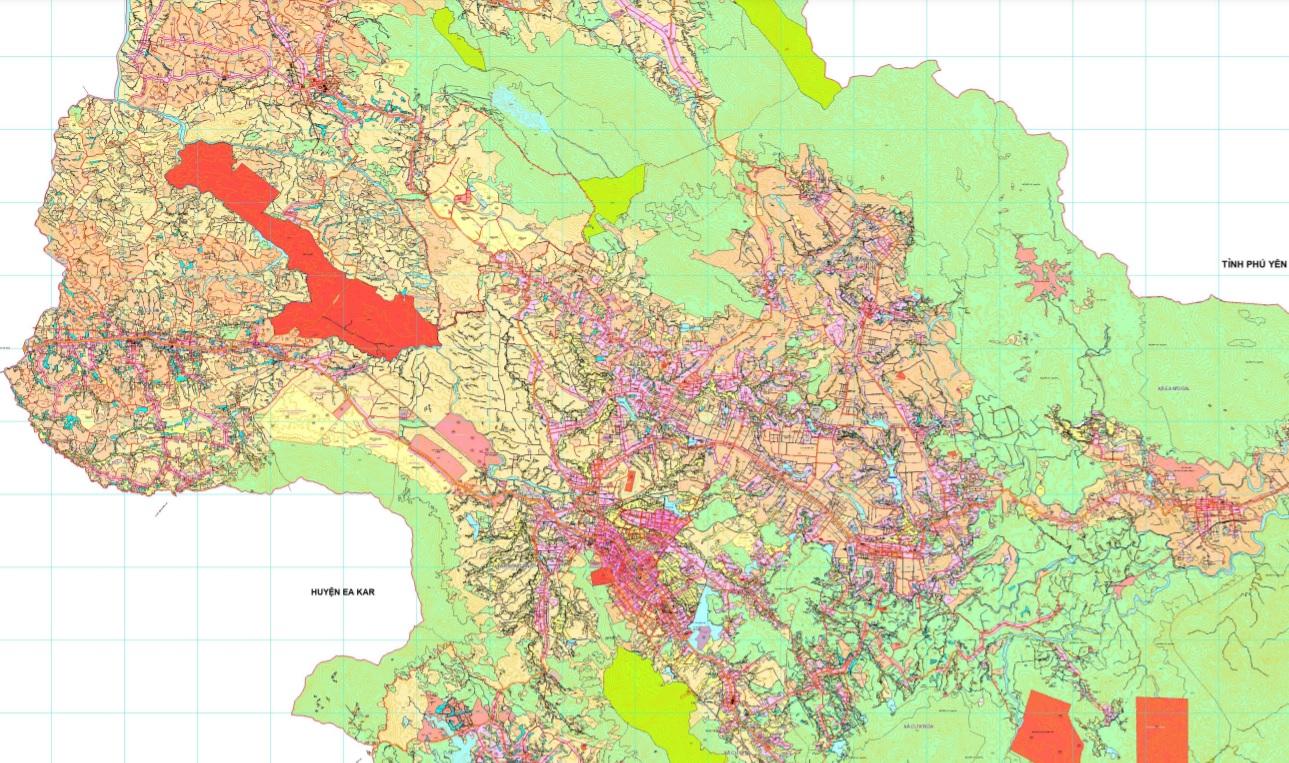 Bản đồ quy hoạch sử dụng đất huyện M'Drắk đến 2030