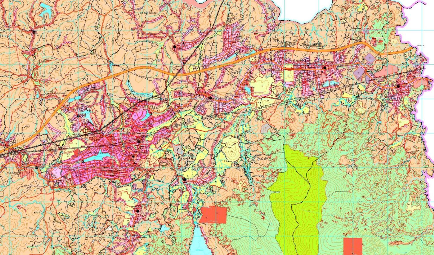 Bản đồ quy hoạch sử dụng đất huyện Di Linh