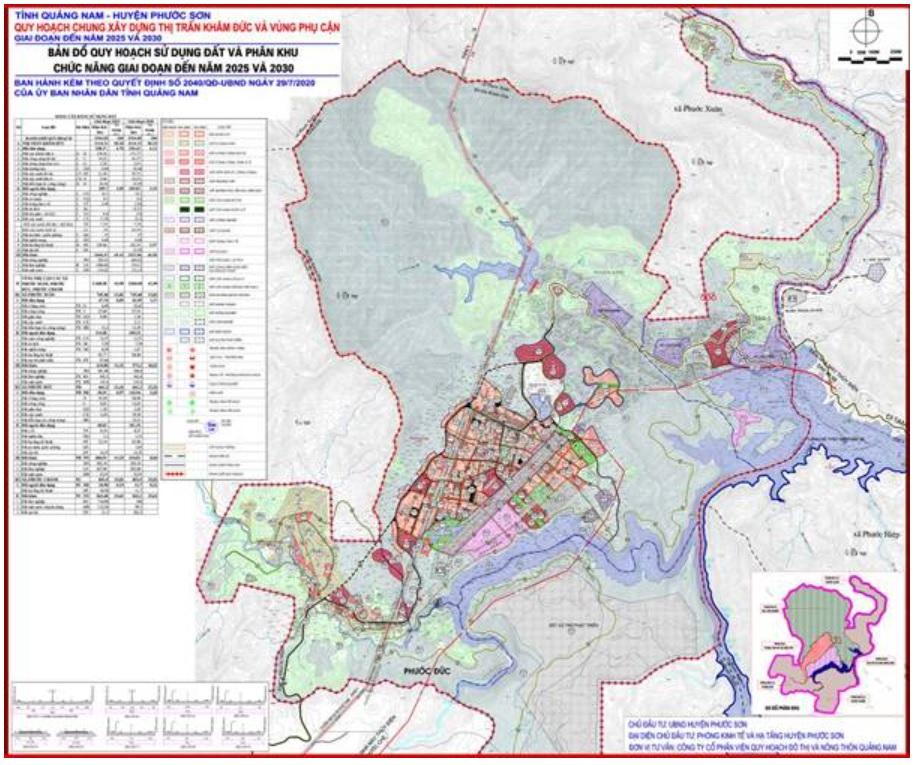 Bản đồ quy hoạch thị trấn Khâm Đức và vùng phụ cận huyện Phước Sơn đến 2025