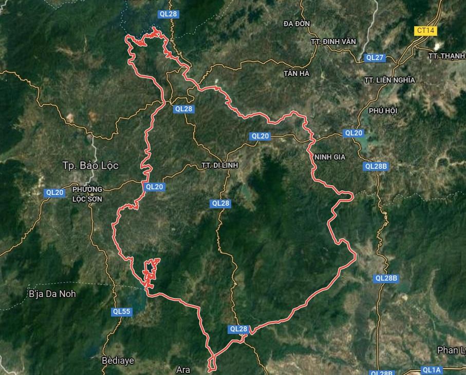 Huyện Di Linh trên google vệ tinh